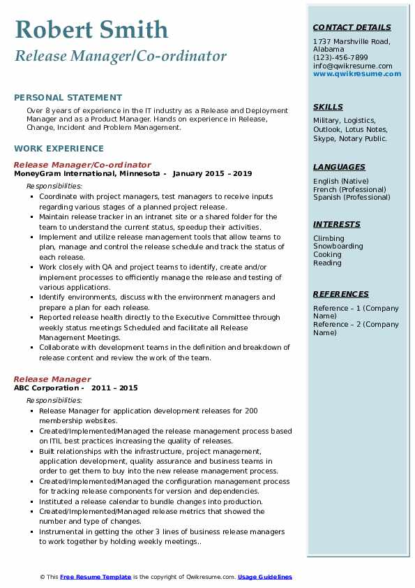 change release manager resume