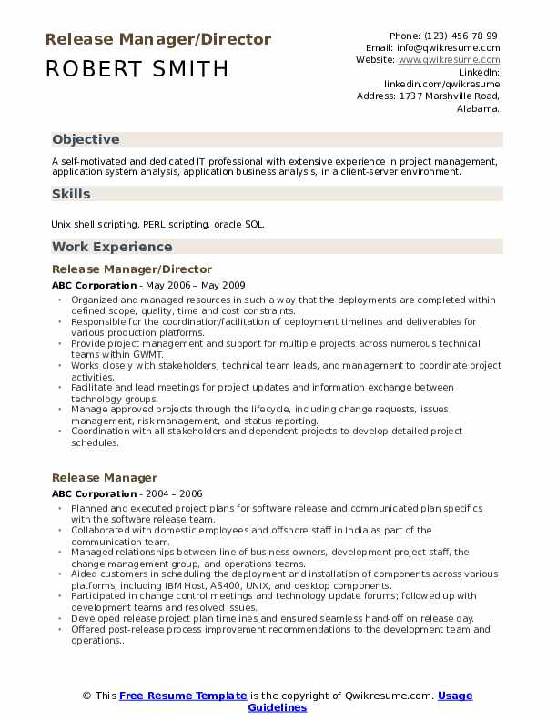 release manager resume samples