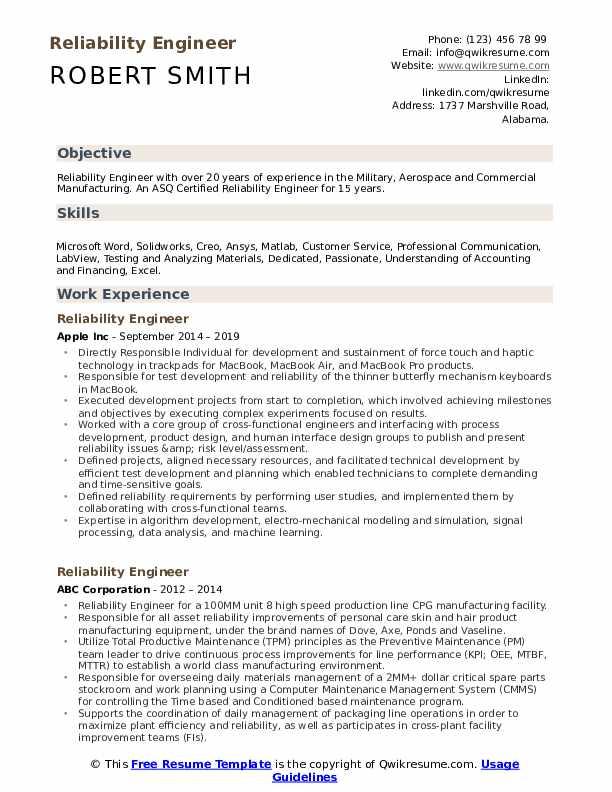 Reliability Engineer Resume Samples Qwikresume