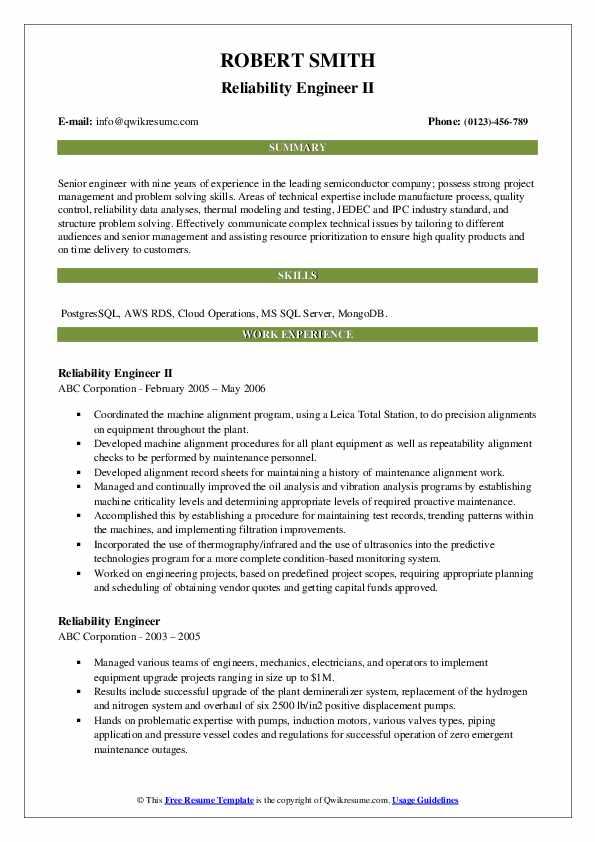 Reliability Engineer II Resume Template