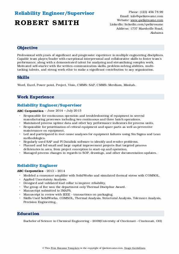 Reliability Engineer/Supervisor Resume Template