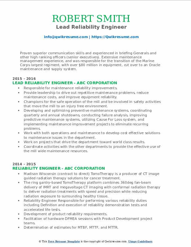 Lead Reliability Engineer Resume Template