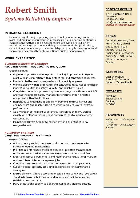 Systems Reliability Engineer Resume Template