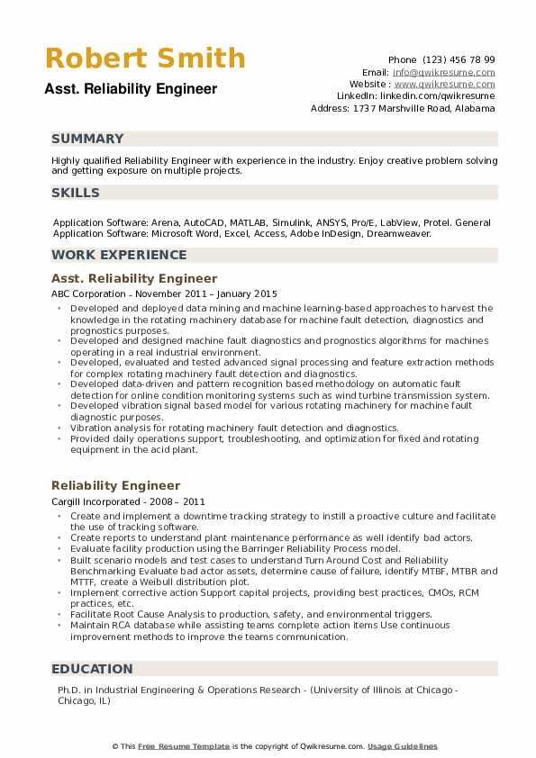 Asst. Reliability Engineer Resume Model