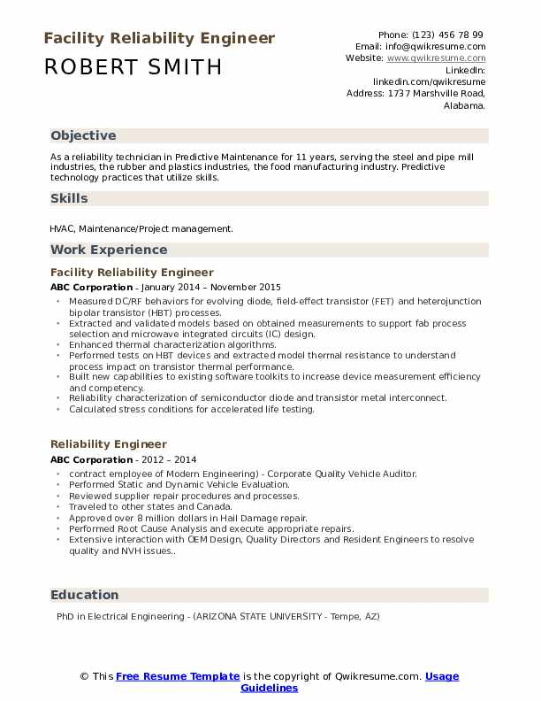 Facility Reliability Engineer Resume Format