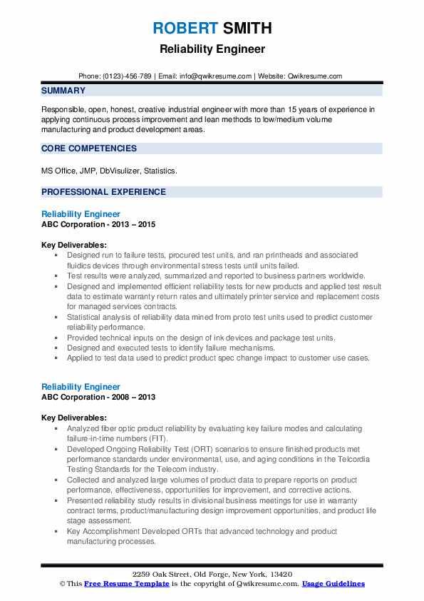 reliability engineer resume samples