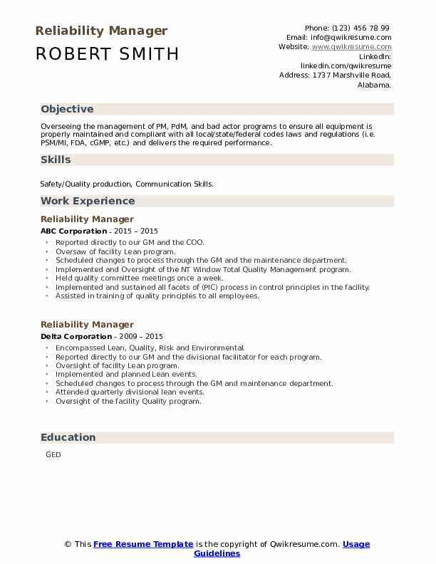 Reliability manager resume introduction child labour essay