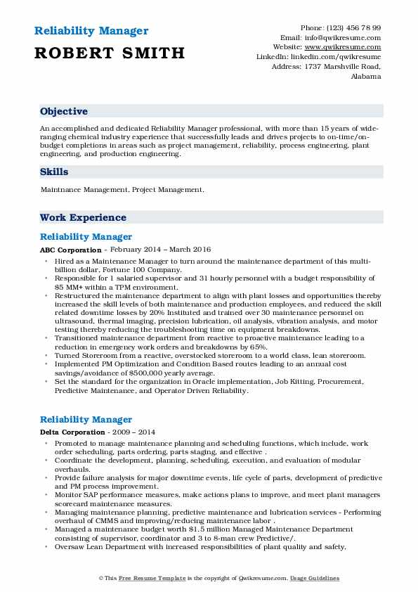 reliability manager resume