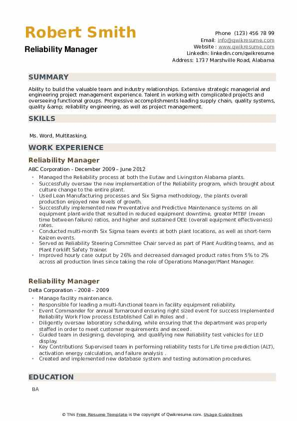 Reliability Manager Resume example
