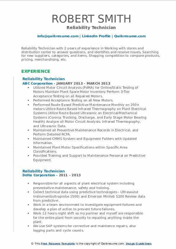 reliability technician resume samples  qwikresume