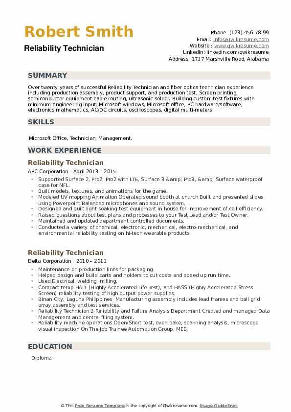 Reliability Technician Resume example