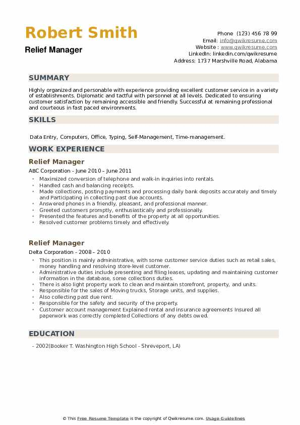Relief Manager Resume example