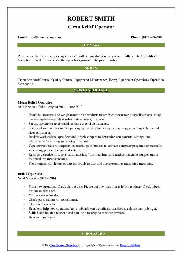 Clean Relief Operator Resume Sample