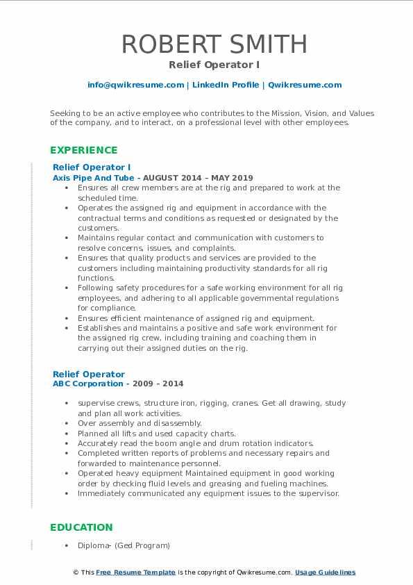 Relief Operator I Resume Format