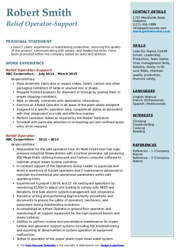 Relief Operator-Support Resume Sample