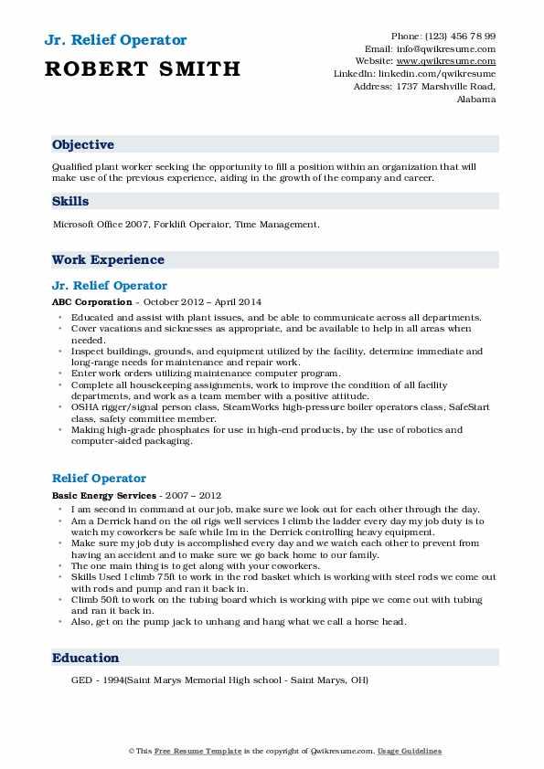 Jr. Relief Operator Resume Model