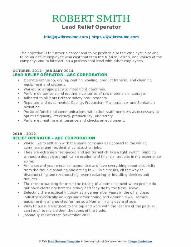 Lead Relief Operator Resume Model