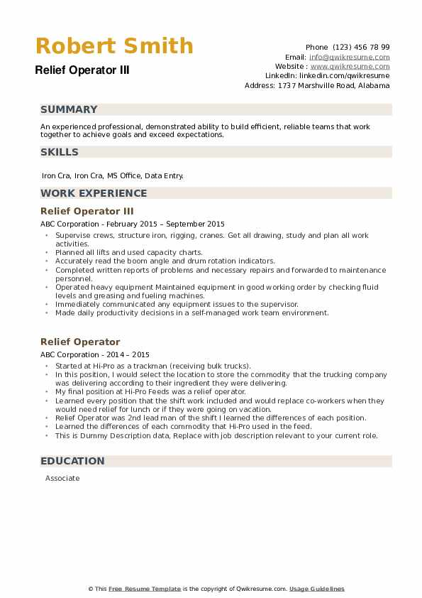 Relief Operator III Resume Template
