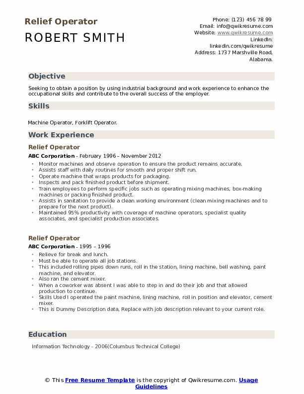 Relief Operator Resume example