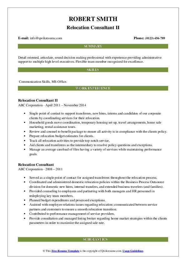 relocation consultant resume samples  qwikresume