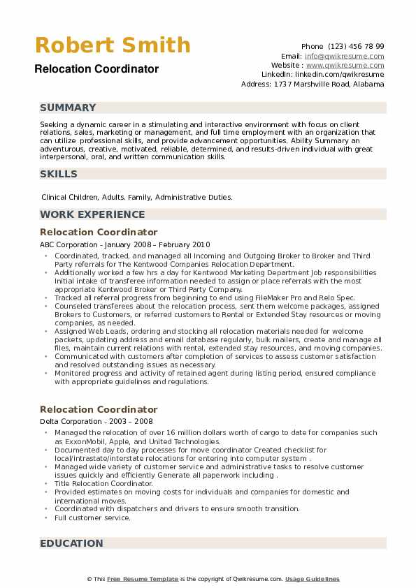 Relocation Coordinator Resume example