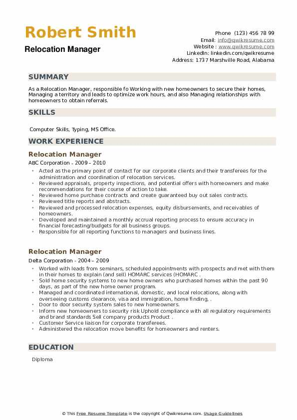 Relocation Manager Resume example