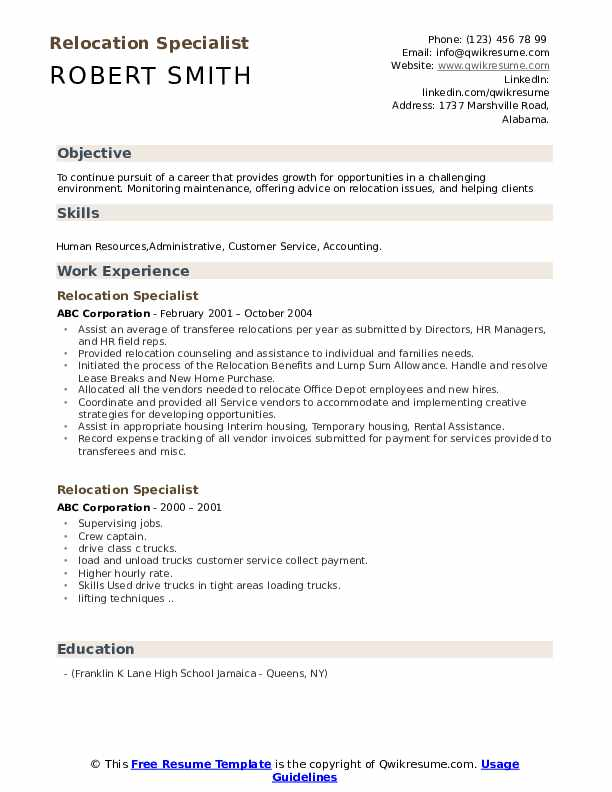 Relocation Specialist Resume example