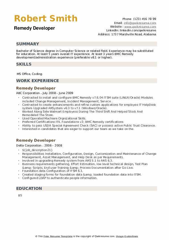 Remedy Developer Resume example