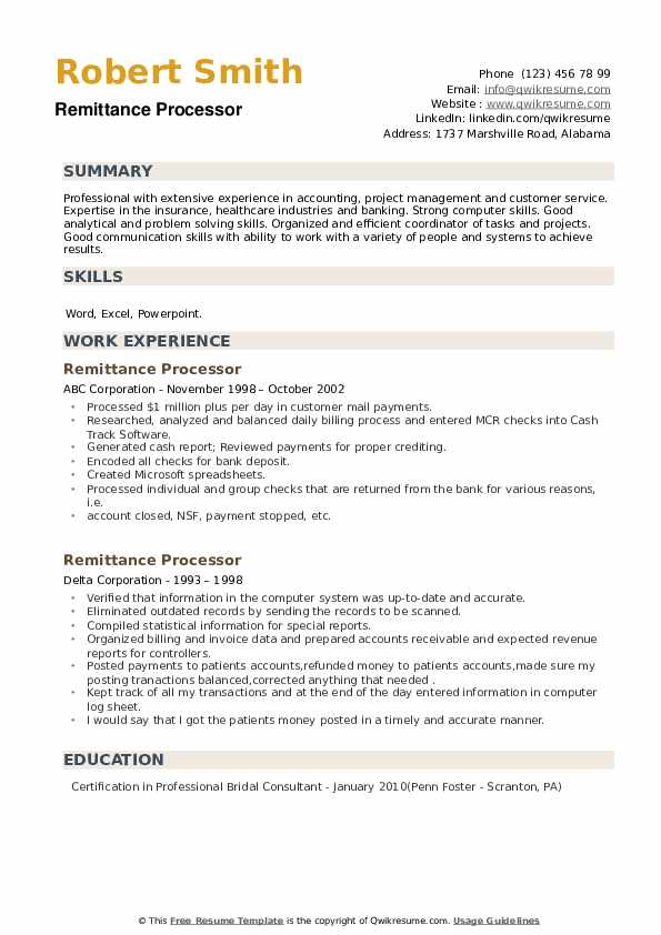 Remittance Processor Resume example