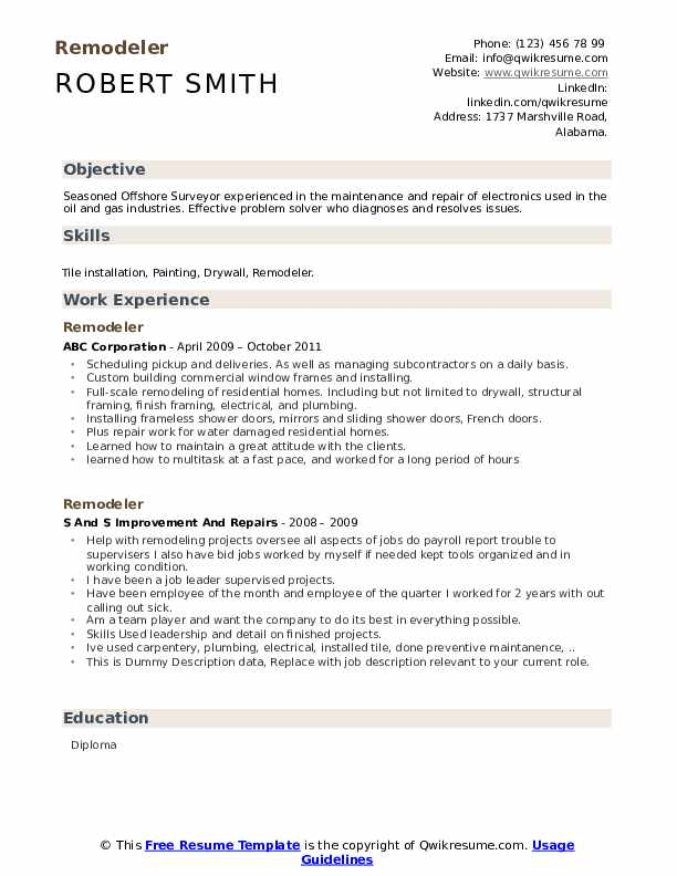 Remodeler Resume example