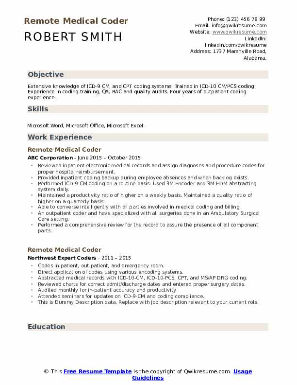 Remote Medical Coder Resume example