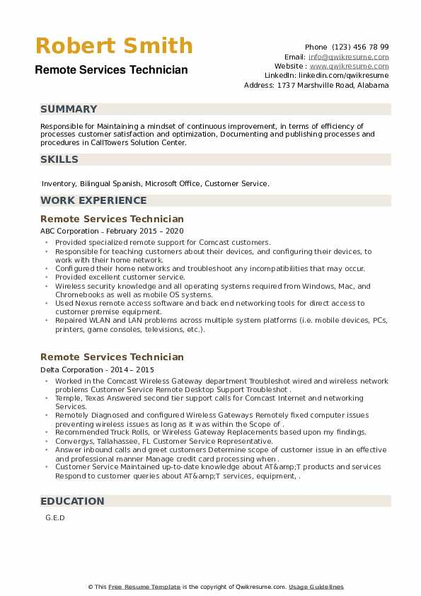 Remote Services Technician Resume example