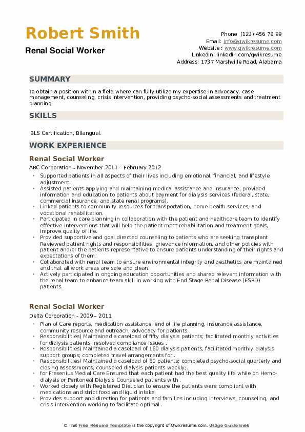 Renal Social Worker Resume example
