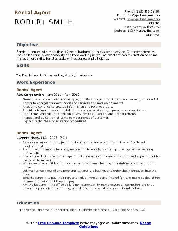 Rental Agent Resume Format
