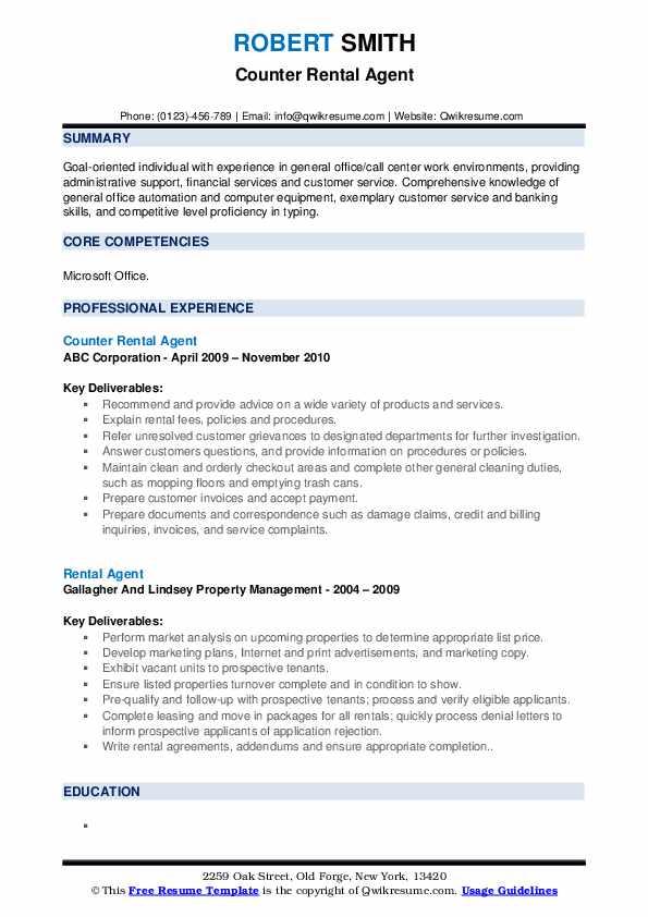 Counter Rental Agent Resume Model