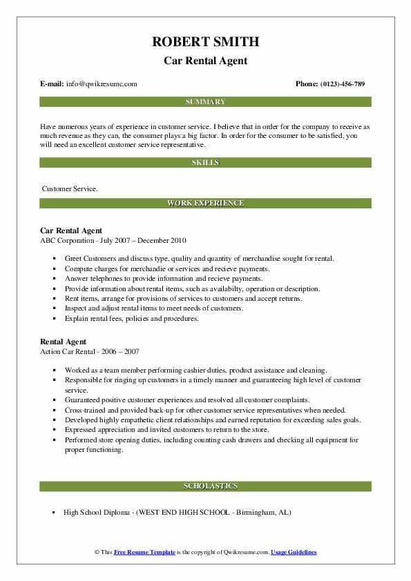 Car Rental Agent Resume Format