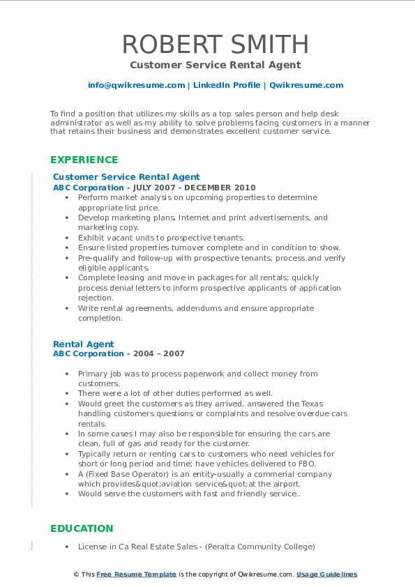 Customer Service Rental Agent Resume Format