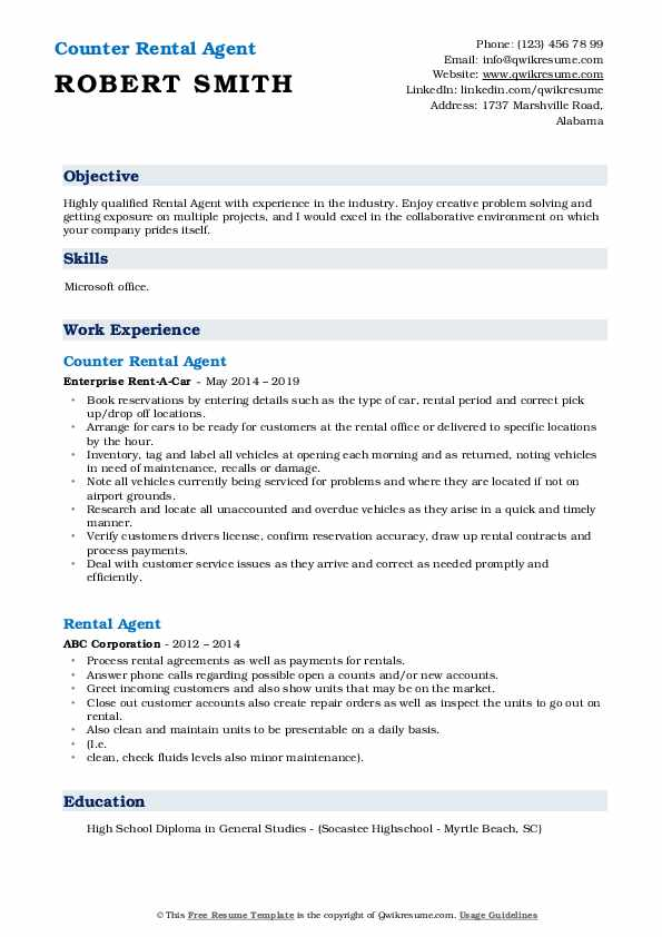 Counter Rental Agent Resume Example