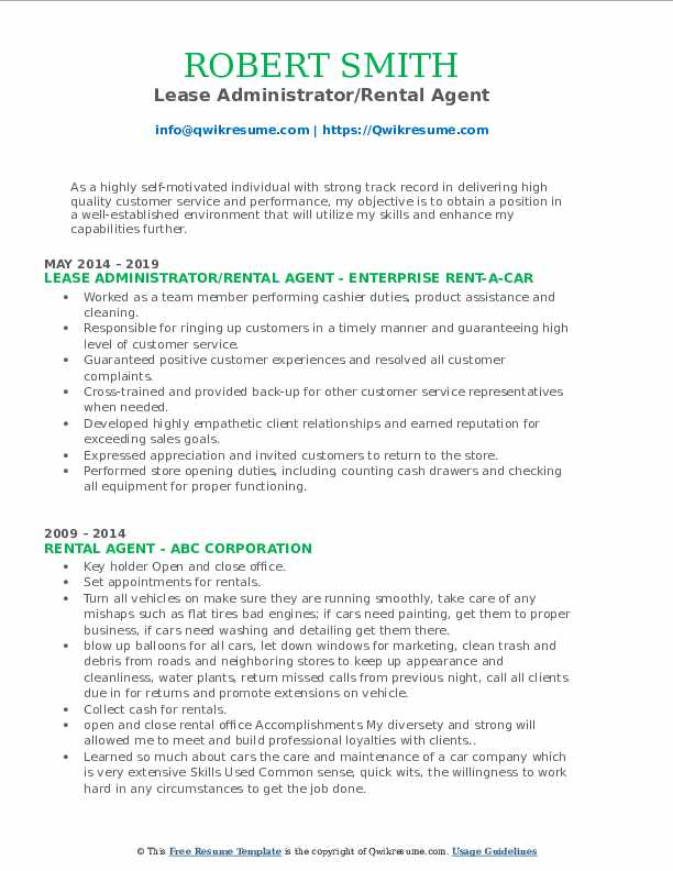 Lease Administrator/Rental Agent Resume Model