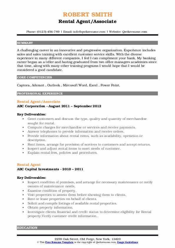 Rental Agent/Associate Resume Sample
