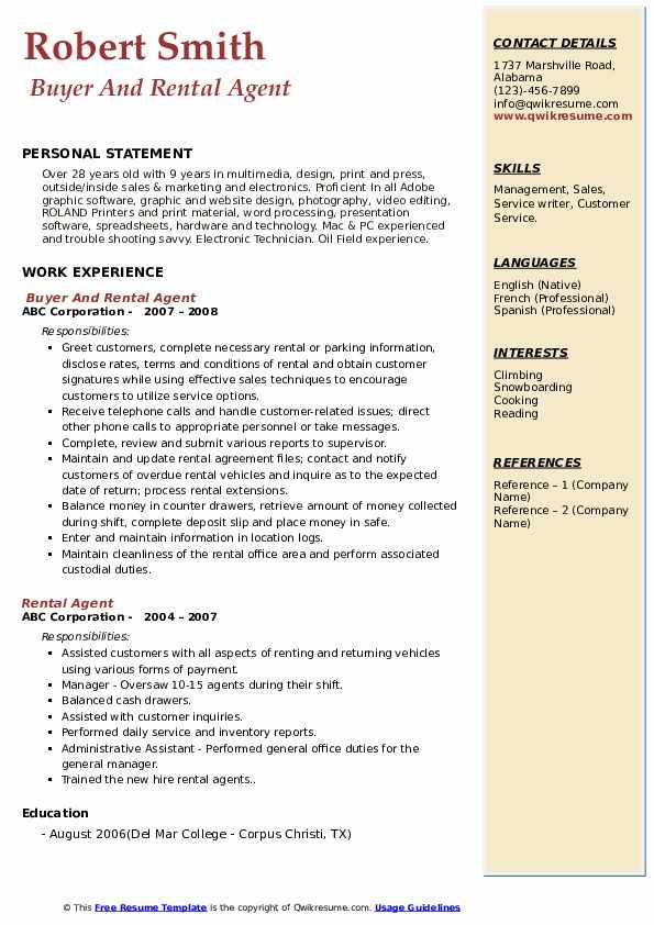 Buyer And Rental Agent Resume Model