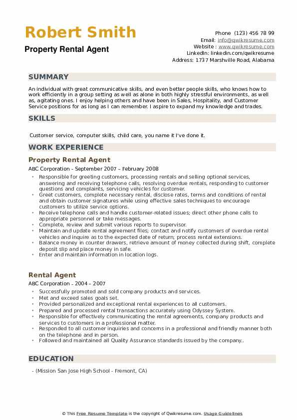 Property Rental Agent Resume Template