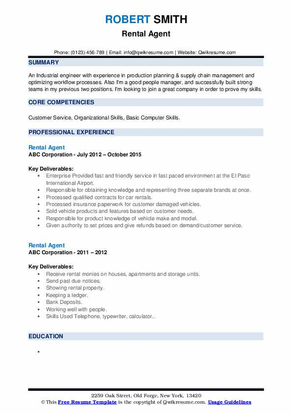 Rental Agent Resume example