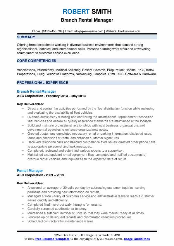 Branch Rental Manager Resume Template