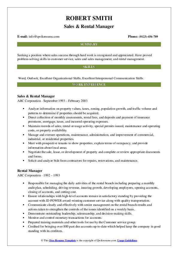 Sales & Rental Manager Resume Template