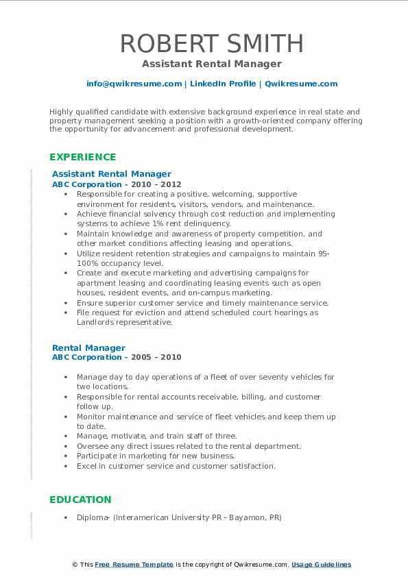 Assistant Rental Manager Resume Model