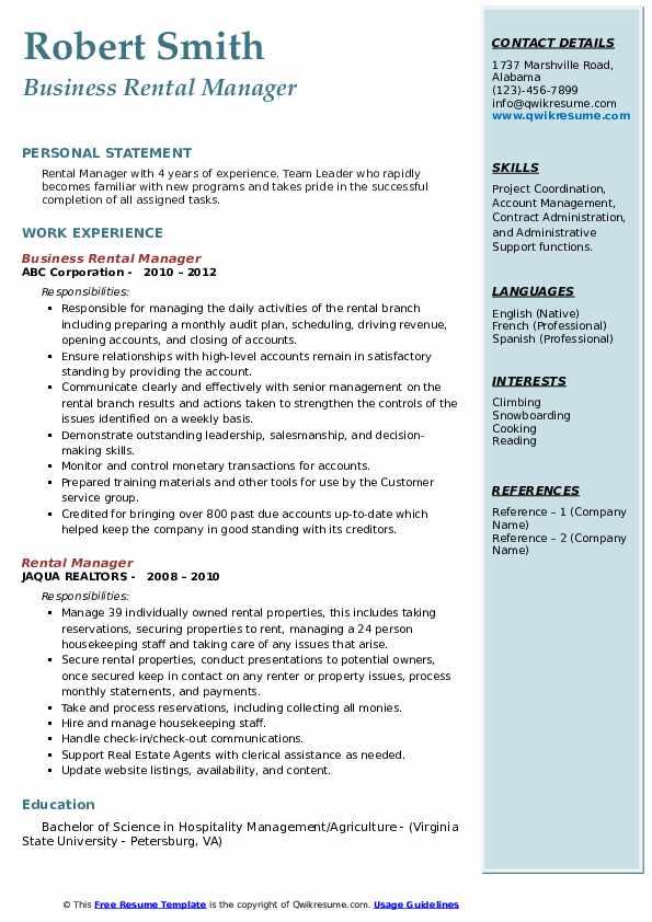Business Rental Manager Resume Sample