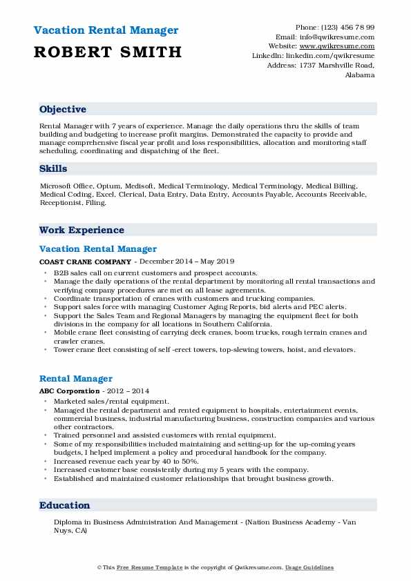 Vacation Rental Manager Resume Example
