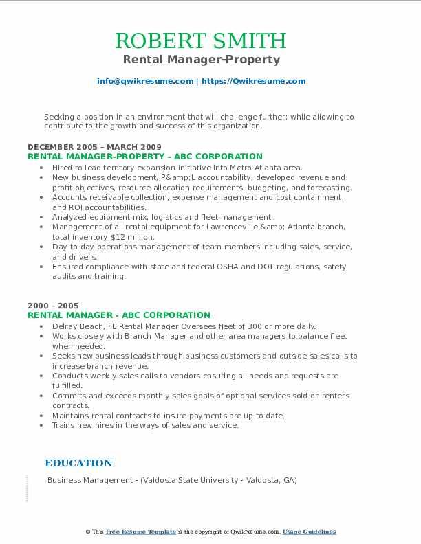 Rental Manager-Property Resume Format