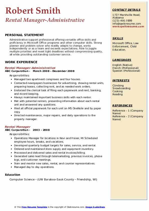 Rental Manager-Administrative Resume Example